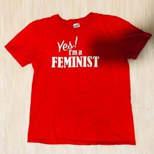 """Tops - Yes! I'm a feminist"""" Red Graphic Tee"""